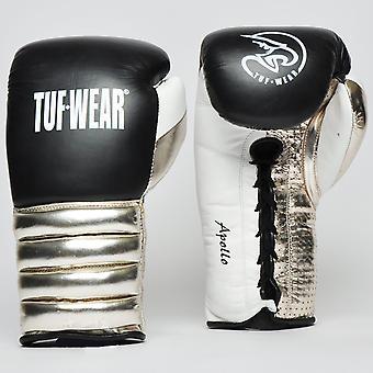Tuf Wear Apollo Metallic Lace Leather Sparring Glove Black / White / Rose Gold
