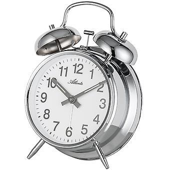 Atlanta 1054/19 Réveil mécanique réveil à double cloche argenté