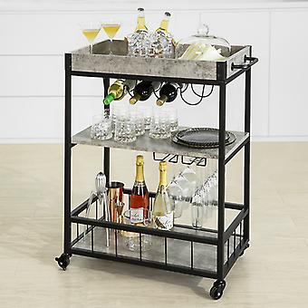 SoBuy Design moderno 3 livelli Cucina Trolley che serve Trolley con vino Rack Metal & MDF,FKW56-HG