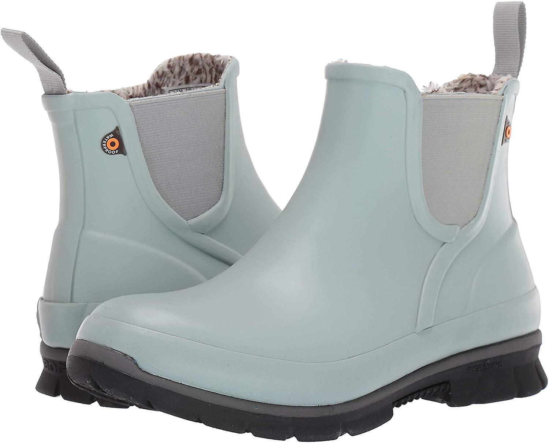 BOGS Women's Amanda Plysch Slip på vattentät regn boot, Jade, 7