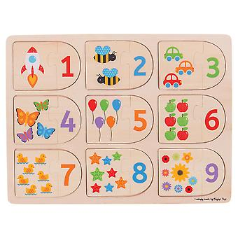 Bigjigs Toys Educational Wooden Picture and Number Matching Puzzle