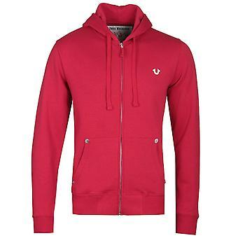 True Religion Classic logo zip-genom röd hoodie
