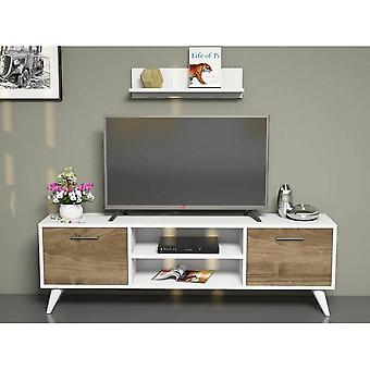 Port tv mobile Horus Color White, Noyer en puce melaminique, PVC 120x30x48.6 cm, 60x14x16 cm