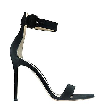 Gianvito Rossi G6109615riccamblack Women's Black Suede Sandals