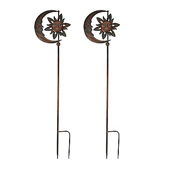 Set of 2 Verdigris Patina Copper Finish Celestial Sun and Moon Wind Spinner Garden Stakes