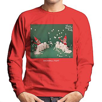 Elves Behavin' Badly Snowball Fight Men's Sweatshirt