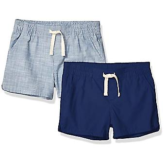 Essentials Girls' 2-Pack Pull-On Woven Shorts, Navy/Chambray, Small