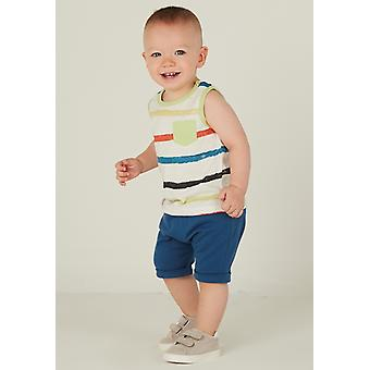 Mamino  Baby  Boy  Marcel  Blue Harem Short   and White Sleeveless Printed Tee Shirt 2 Pieces Set