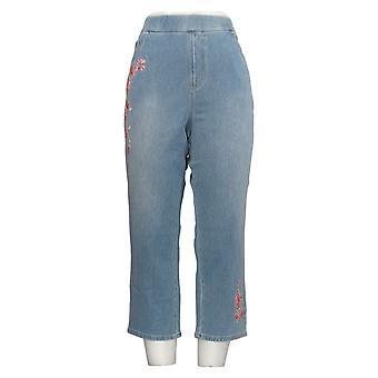 Belle by Kim Gravel Women's Jeans Flexibelle Embroidered Crop Blue A303486
