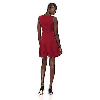 Brand - Lark & Ro Women's Sleeveless Wide Scoop Neck Fit and Flare Dress, Bordeaux, Small