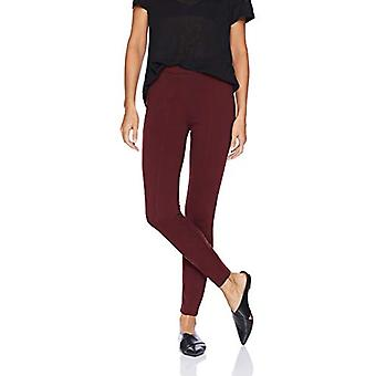 Marque - Daily Ritual Women's Seamed Front, 2-Pocket Ponte Knit Legging, Burgundy, Small Long