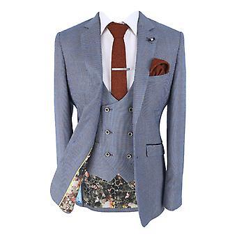 Men's Del Ray Blue Slim Fit Windowpane Check Suit