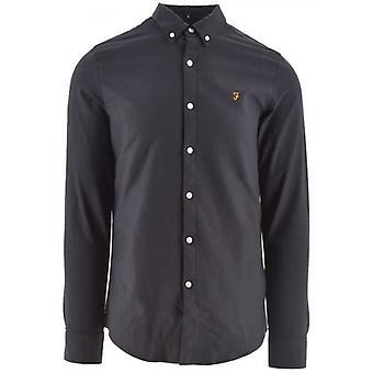 Farah Navy Brewer Slim Lange Sleeved Oxford Shirt