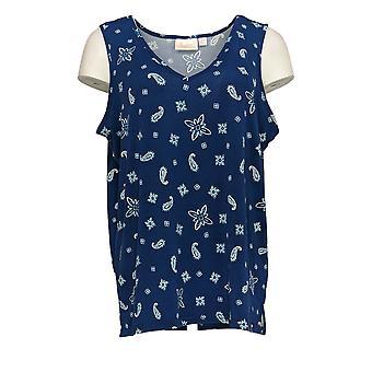 Belle by Kim Gravel Women's Top Printed Knit Tank Blue A373653