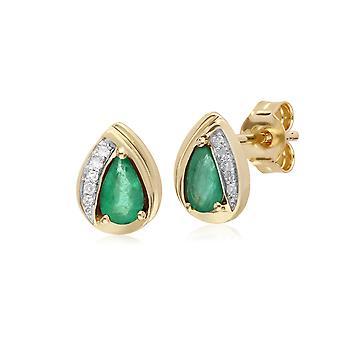 Klassische Birne Smaragd & Diamant Tear Drop Ohrstecker in 9ct Gelbgold 135E1575039