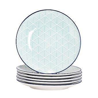 Nicola Spring 6 Piece Geometric Patterned Side Plate Set - Small Porcelain Dining Plates - Electric Blue - 19cm