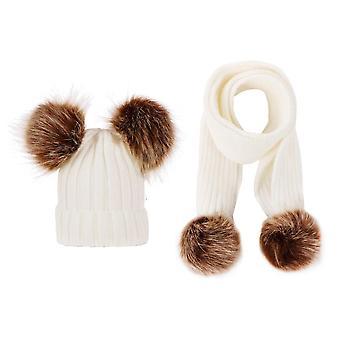 Χειμώνας καπέλα αυτιά κορίτσια κορίτσια Cap + κασκόλ παιδιά που μωρό κρατήστε ζεστό πλεκτό μαλλί διπλό