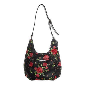 Soupuss Rose Garden Schwarz Hobo Handtasche