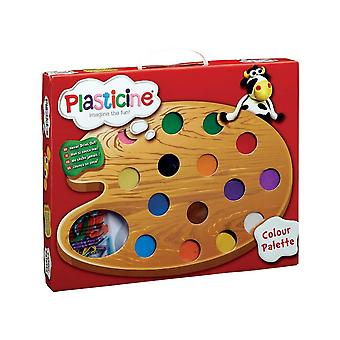 Plasticine multi colour clay modelling palette with 15 different colours of