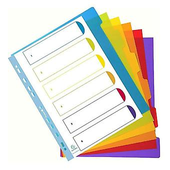 Rexel A4 Part Dividers Translucent Polypropylene Multicolour - 6 Dividers
