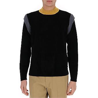 Fendi Fzy110adu7f18ks Männer's schwarze Wolle Pullover