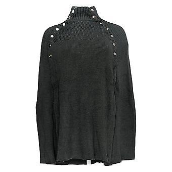 G.I.L.I. Got It Love It Women's Sweater Cape W/ Button Detail Gray A368018