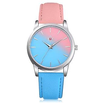 DEFFRUN HJ1317 Candy Color Gradient Stitching Leather Strap Simple Design