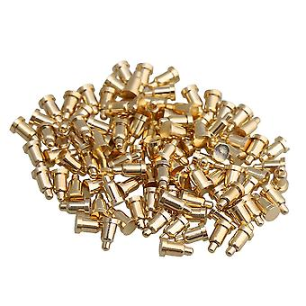 100pcs 2mm Dia 3.5mm Height Gold Plating Current Copper Pogo Pins Probe