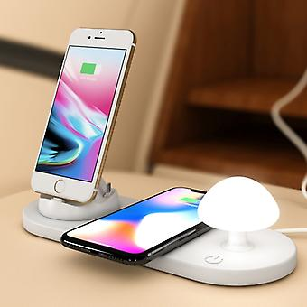 HQ-UD11 10W 4 in 1 8 Pin + Micro USB + USB-C / Type-C + Wireless Charger Mobile Phone Fast Charger with Mushroom LED Light & Mobile Phone Stand Holder