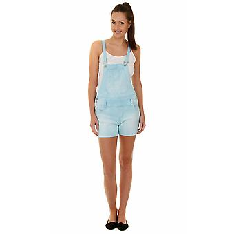Womens denim dungaree shorts - sky blue