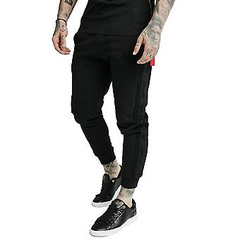 Sik Silk Fitted Suede Flock Cuff Pants - Black