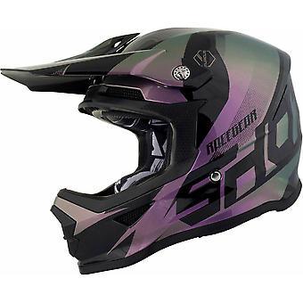 Shot Ultimate LTD Edition Chameleon Motocross Casque Violet Gris ACU Or