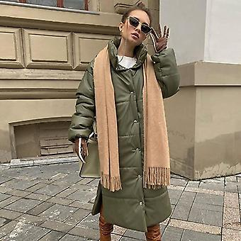 Casual Khaki Windproof Parkas Pu Leather Elegant Long Cotton Jackets For Female