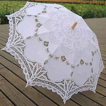 Elegant Cotton Embroidery Lace Parasol, Summer Sun Umbrella For Wedding