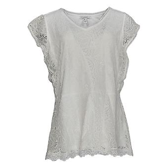 Isaac Mizrahi Live! Women's Top Stretch Lace Flutter Sleeve White A373303