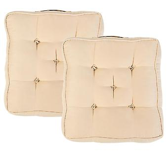 """Beige Pack of 2 Cotton Armchair Booster Cushion 4"""" Thick Seat Pad"""