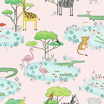 Crocodile Lake Pink Wallpaper