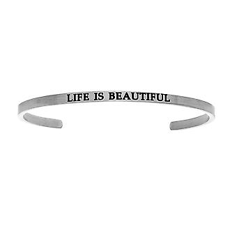 """Intuitions Stainless Steel LIFE IS BEAUTIFUL Diamond Accent Cuff  Bangle Bracelet, 7"""""""
