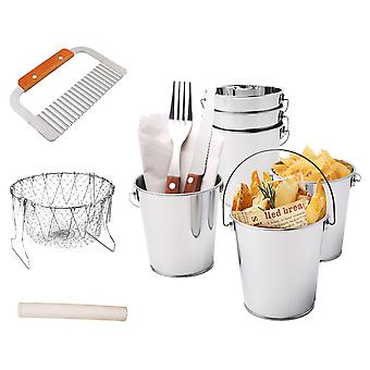 9pcs French Fries Serving Set Include Buckets,chips Cutter