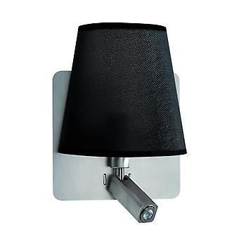 Mantra Bahia Wall Lamp 1xe27+reading Led Light 3w Black Shade Satin Nickel