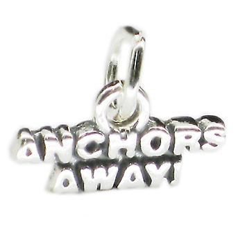 Anchors Away Sterling Silver Charm .925 X 1 Boat Ship Marine Charms - 3897