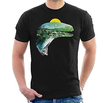 Jurassic Park Velociraptor Jungle Silhouette Men's T-Shirt