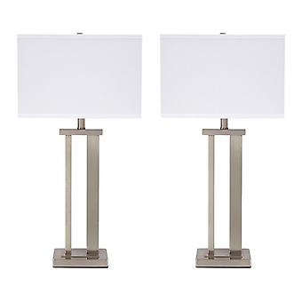 Metal Frame Table Lamp With Hardback Shade, Set Of 2, White And Silver