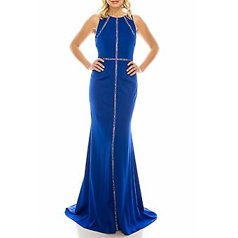 Deep Sapphire Trumpet Evening Gown With Lace Trims