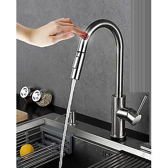 Stainless Steel Pull Out Touch Sensor Kitchen Faucet