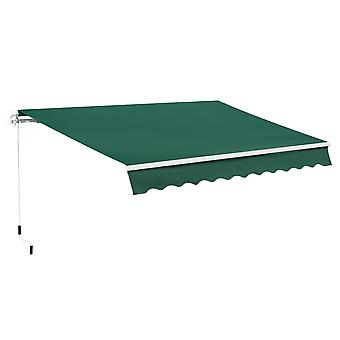 Outsunny 4x2.5m Retractable Manual Awning Window Door Sun Shade Canopy with Fittings and Crank Handle Green