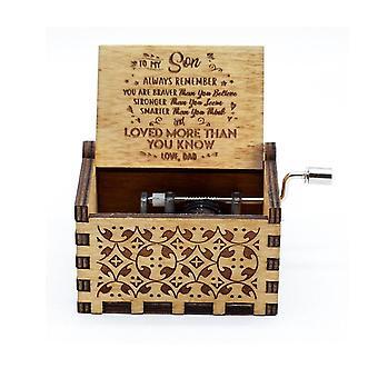Античные резные руки Cranked Вуд Музыка Box