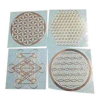 4pcs/set New Metal Energy Decor Sticker Flower  (rose Gold)