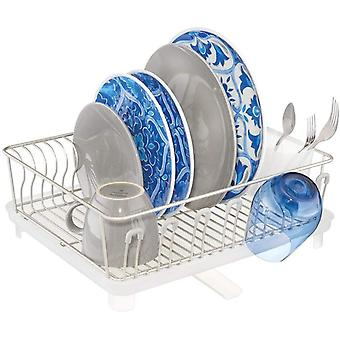 mDesign Dish Drainer  ; 2-Piece Dish Rack With Cutlery Tray and Removable Draining Board