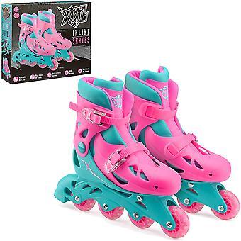 Xootz Kids Inline Skates Ajustável Iniciante Botas de Patinação Meninas Rosa/Azul MediumUK 13-3